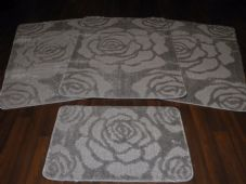 ROMANY WASHABLES NON SLIP 2018 SUPER THICK ROSE DESIGN FULL SET OF 4 SILVER/GREY